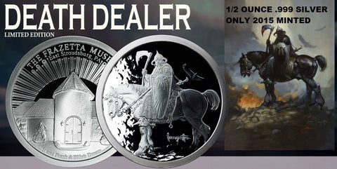 1/2 OZ Silver Coin Frank Frazetta Death Dealer Museum Edition w/COA 2015 Mint - redrum comics