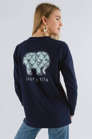 Ivory Ella Women's Long Sleeve Shirts Ella Fit Organic Dark Navy Scallop Palm Tee