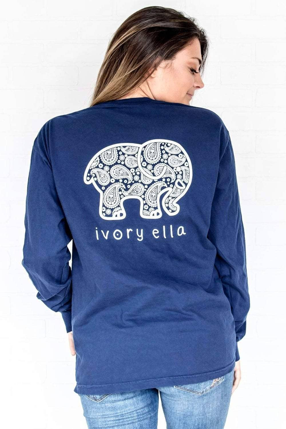 Ivory Ella Women's Long Sleeve Shirts Navy / S Classic Fit Dark Navy Inverse Paisley Tee