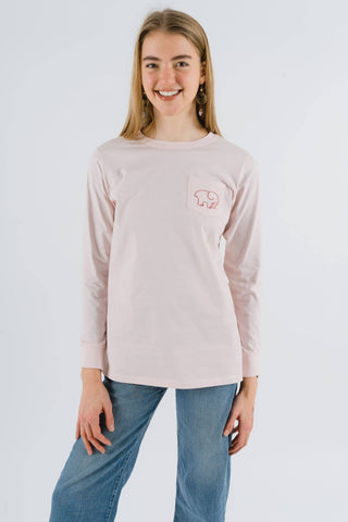Ivory Ella Women's Long Sleeve Shirts XXS Ella Fit Organic Crystal Pink Watercolor Mountains Tee