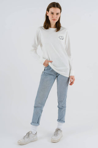 Ivory Ella Women's Long Sleeve Shirts XXS Ella Fit Organic Soft White Marble Tee