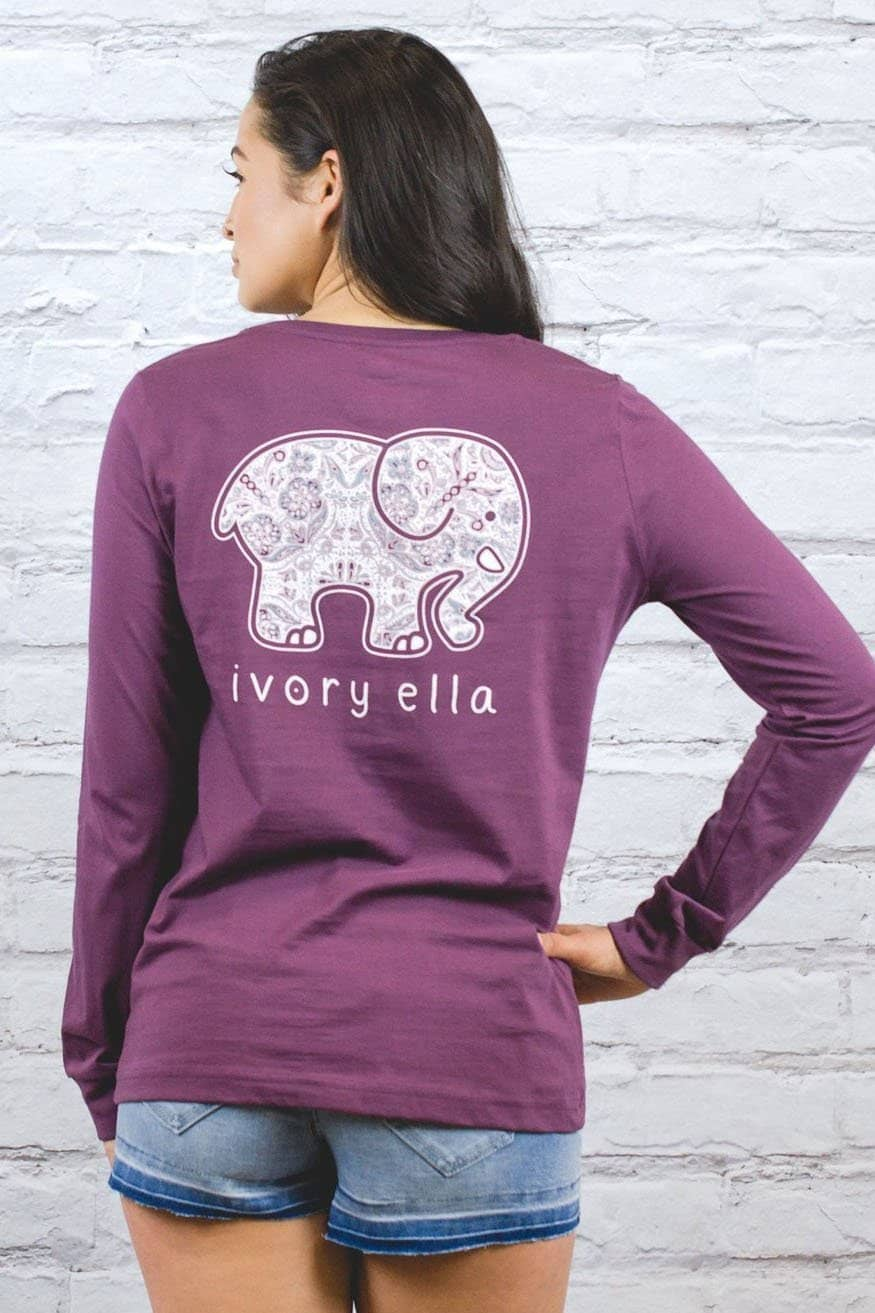 Ivory Ella Women's Long Sleeve Shirts XXS Perfect Fit Royal Purple Rosemale Tee