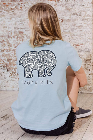 Ivory Ella Women's Short Sleeve Tees Baby Blue / XXS Ella Fit Baby Blue Paisley