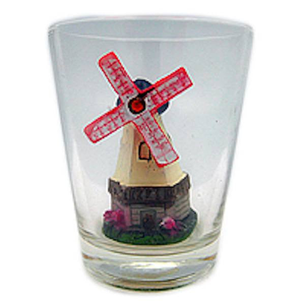 Souvenir Shot Glass: 3 D Windmill & Flowers - GermanGiftOutlet.com  - 1