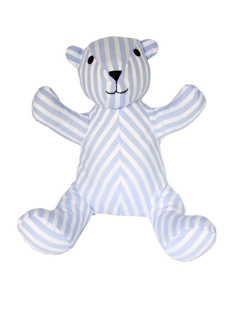 Teddy Bear in Blue and White Striped Cotton