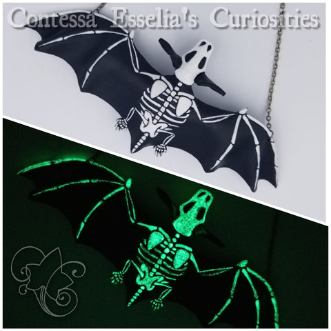 Glow-in-the-dark Leather Skeletal Bat Neckclace 3D
