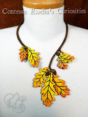 Fall Oak Leaf and Acorn Torc Leather Necklace