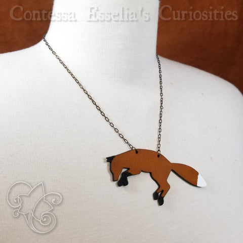 Leaping Red Fox Leather Pendant Necklace