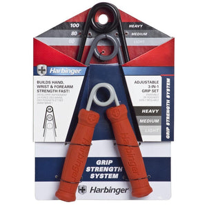 Harbinger Build Grip Strength System Adjustable 3 Hand Gripper Set + Finger Extensor Bands