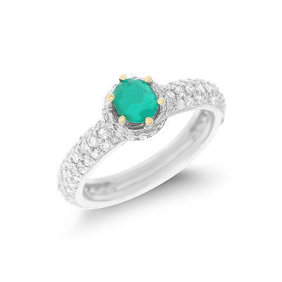 1.24ctw Genuine Natural Emerald and Diamond Ring Size 4.5 18kt White Gold