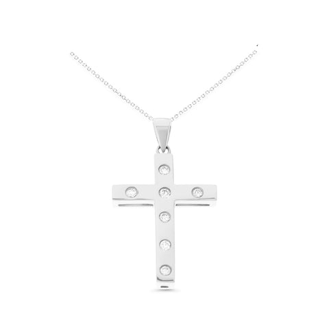 0.13ctw Genuine Natural Diamond Cross Pendant 14kt White Gold