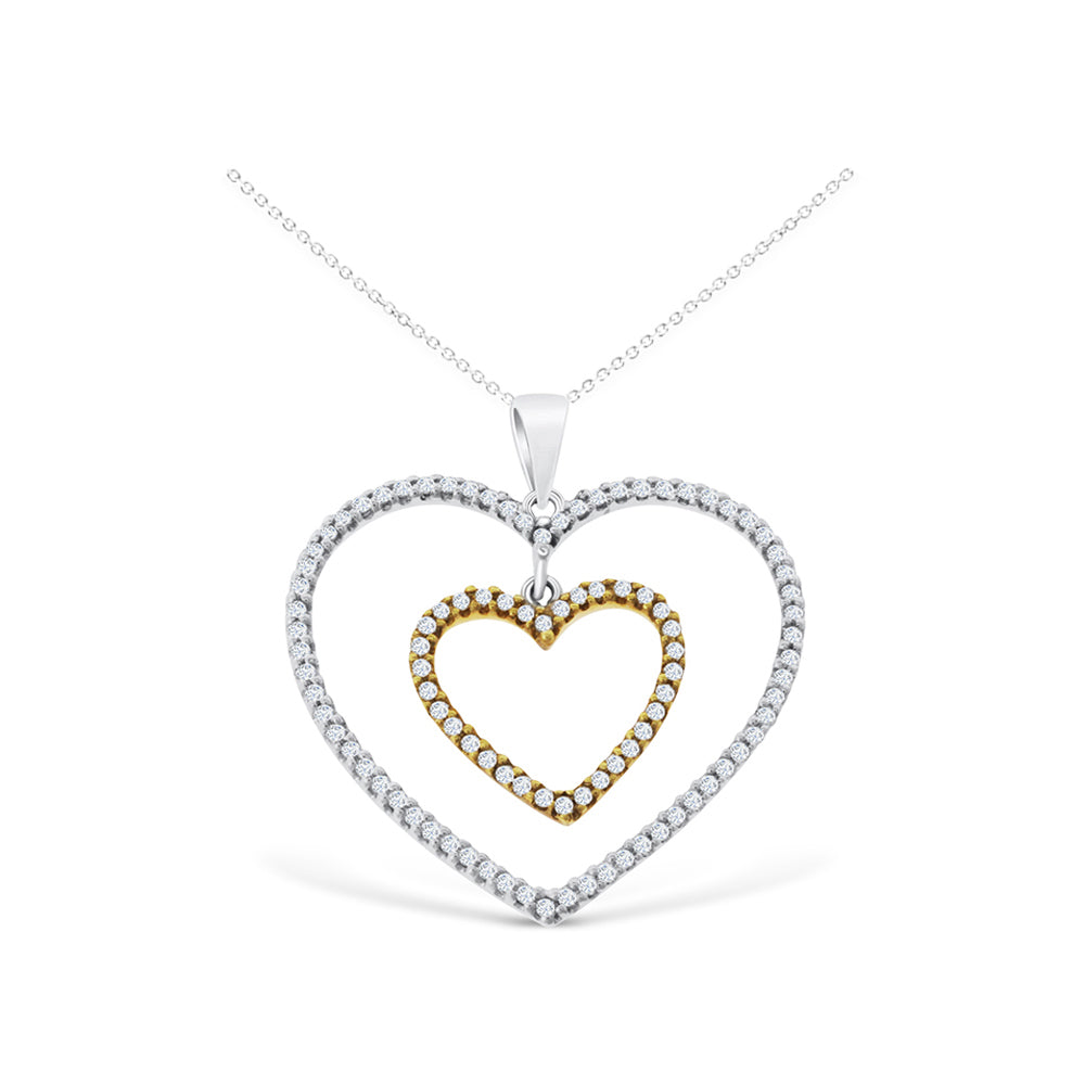 0.43ctw Genuine Natural Diamond Heart Shaped Pendant 18kt Two-Tone Gold