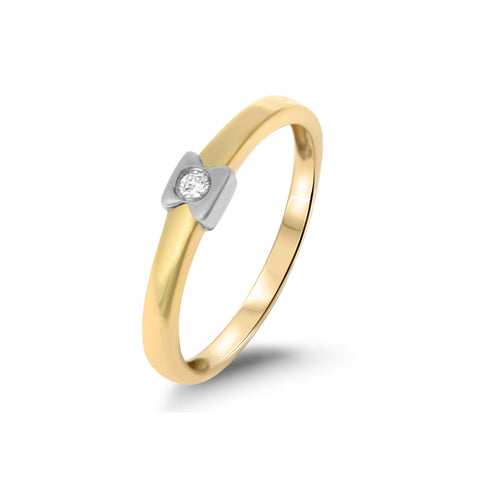 0.04ctw Genuine Natural Diamond Band Ring Size 6.75 14kt Two-Tone Gold