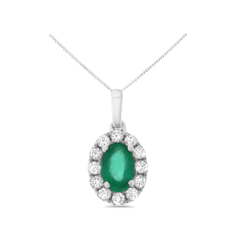 0.65ctw Genuine Natural Emerald and Diamond Pendant 14kt White Gold