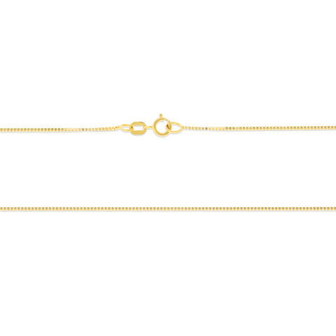 "16"" 0.7 mm. Square Box Necklace Gold Chain 14kt Yellow Gold"
