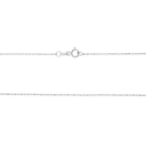 "16"" 0.8 mm. Bar & Bead Necklace Gold Chain 14kt White Gold"