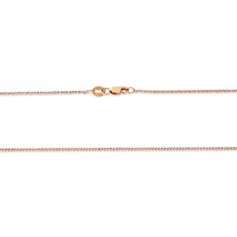 "16"" 0.5 mm. Square Wheat Pave Necklace Gold Chain 14kt Rose Gold"