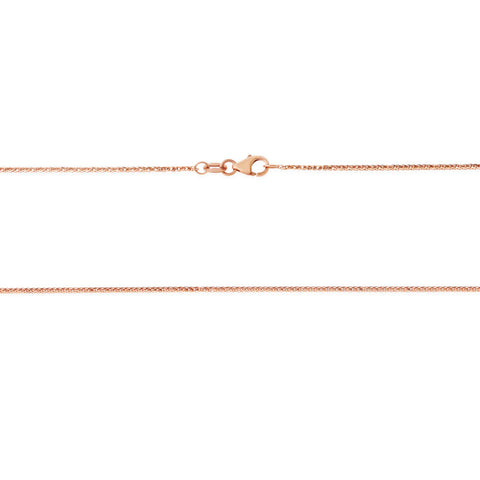 "16"" 0.7 mm. Square Wheat Necklace Gold Chain 14kt Rose Gold"