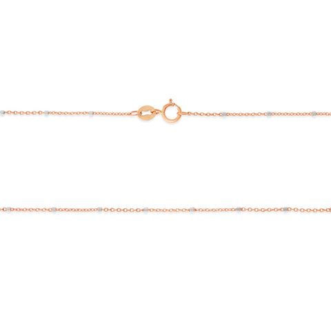 "16"" 0.6 mm. Ball Station Two-Tone Necklace Gold Chain 14kt Rose Gold"