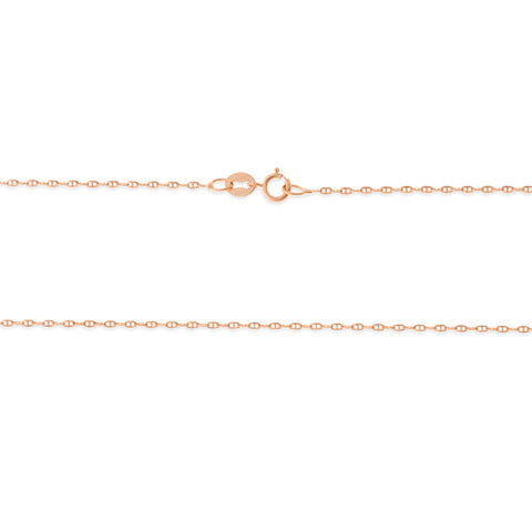 "16"" 0.6 mm. Anchor Link Necklace Gold Chain 14kt Rose Gold"
