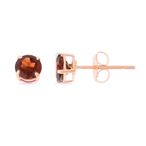 0.87ctw 5 mm. Round Shaped Genuine Natural Garnet Earrings 14kt Rose Gold