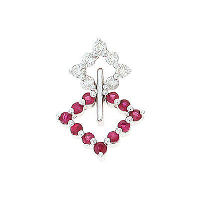 0.52ctw Genuine Natural Ruby and Diamond Pendant 18kt White Gold