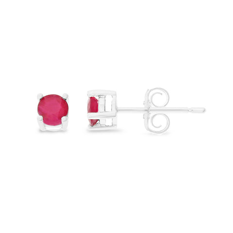 0.56ctw 3 mm. Round Shaped Genuine Natural Ruby Earrings 14kt White Gold