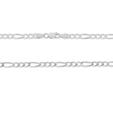 ".925 STERLING SILVER - 18"" 4.0 MM. ITALY FIGARO NECKLACE SILVER CHAIN"