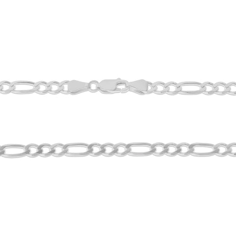 ".925 STERLING SILVER - 20"" 5.0 MM. ITALY FIGARO NECKLACE SILVER CHAIN"