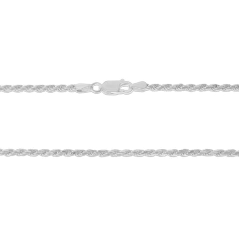 ".925 STERLING SILVER - 22"" 2.5 MM. ITALY ROPE NECKLACE SILVER CHAIN"