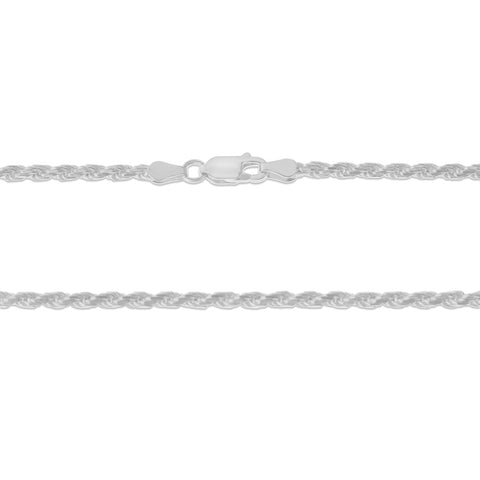 ".925 STERLING SILVER - 20"" 3.0 MM. ITALY ROPE NECKLACE SILVER CHAIN"
