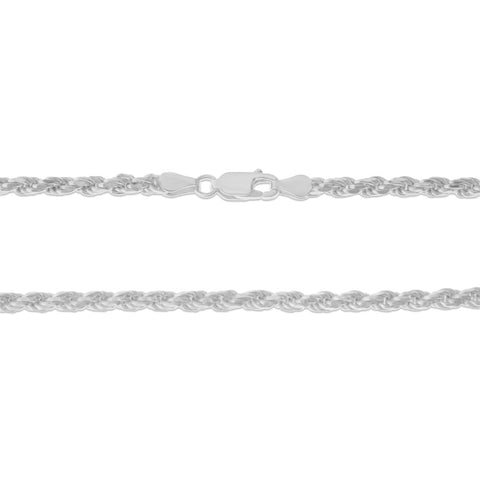 ".925 STERLING SILVER - 20"" 3.5 MM. ITALY ROPE NECKLACE SILVER CHAIN"