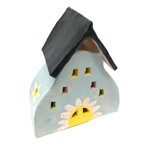 CERAMIC HOUSES LANTERN - LIGHT BLUE WITH FLOWERS