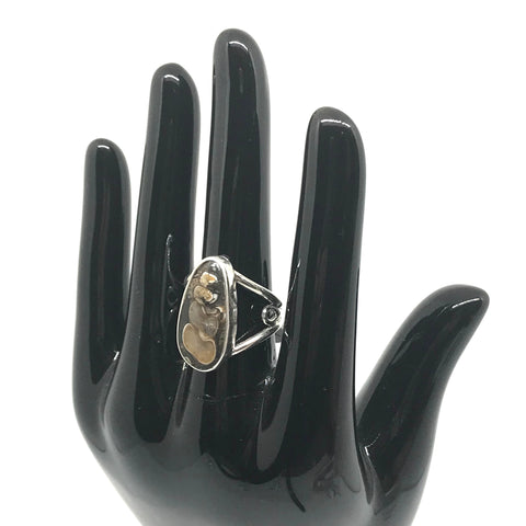 Sterling silver ring with Turitella Agate hand cut stone, snail fossil