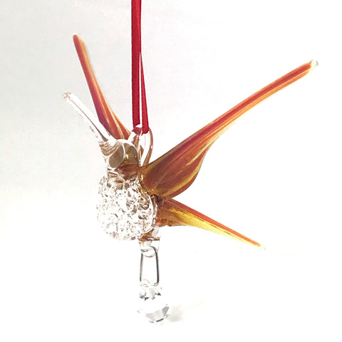 Glass hummingbird with crystal and orange wings