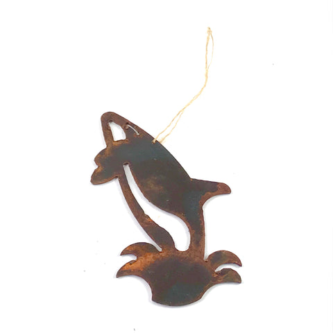Rusted Steel hanging Orca, 5 x 3 inches - Side Street Studio