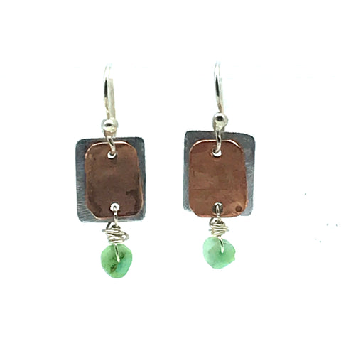 Copper and Sterling Silver Tiny Rectangle Earrings with Green Opal - Side Street Studio