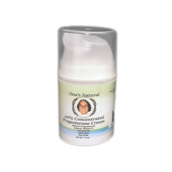 Ona's Natural 20% Concentrated Progesterone Cream, 2 oz Pump