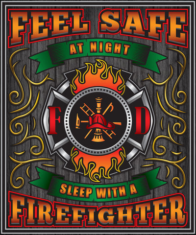 Christmas Special - Firefighter - Feel Safe at Night, Sleep With a Firefighter Throw Blanket