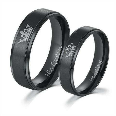 """His Queen"" and ""Her King"" Black Rings"