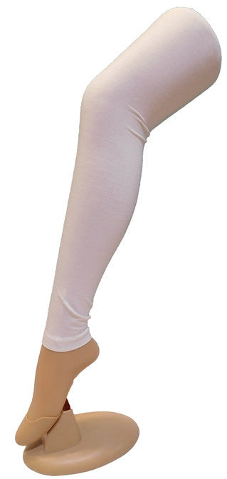 White Solid Leggings