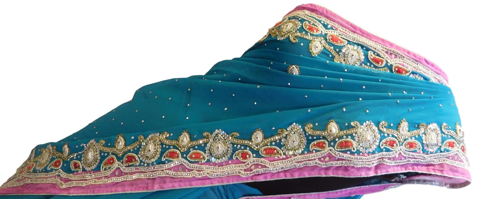 Turquoise Designer Hand Embroidery Pink Contrast Border Saree Sari
