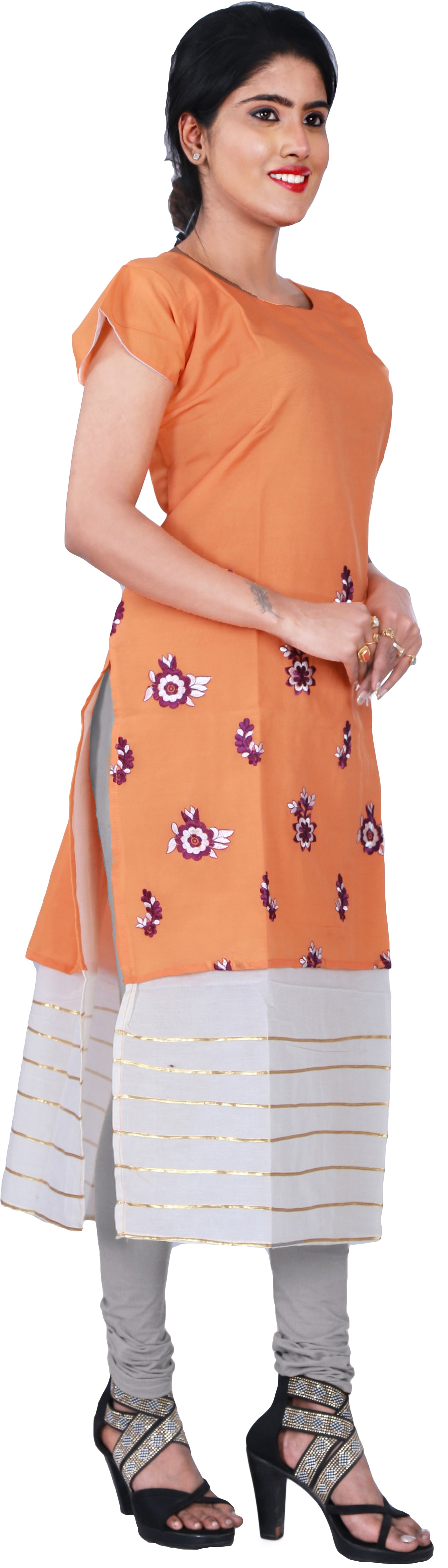 SMSAREE Oraange Designer Casual Partywear Pure Cotton Thread & Gota Hand Embroidery Work Stylish Women Kurti Kurta With Free Matching Leggings D502
