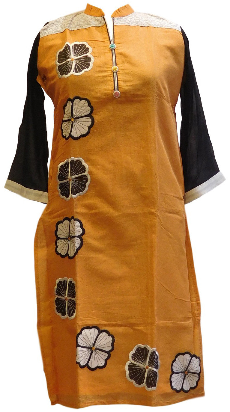 Yellow, Black & White Designer Cotton (Chanderi) Kurti