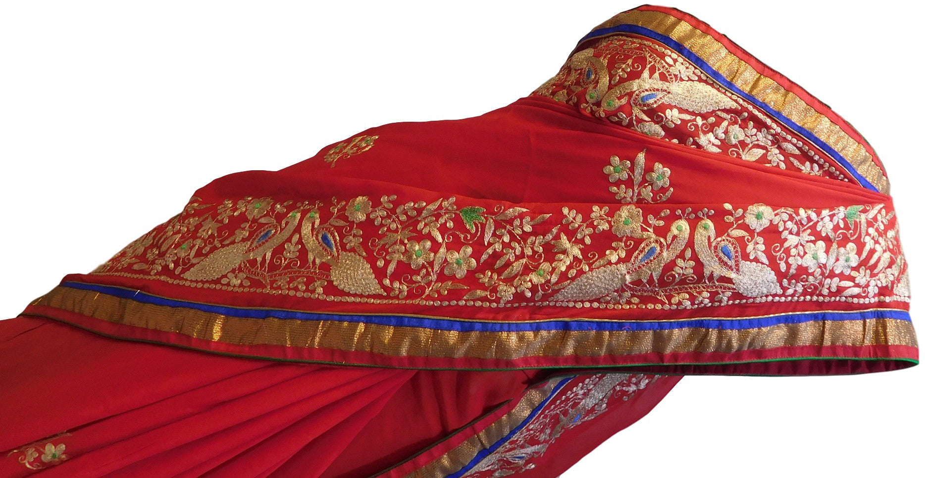 Red Designer Georgette Saree