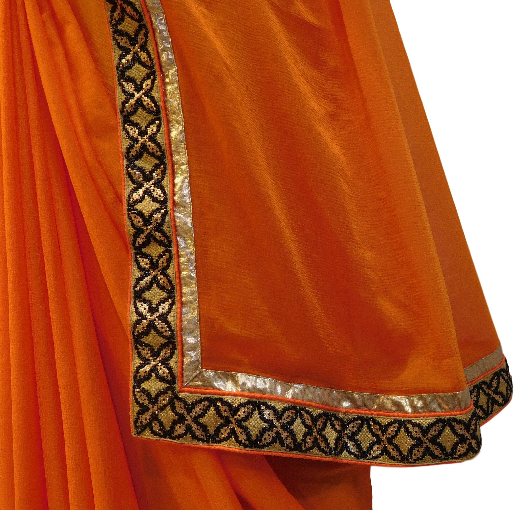 Orange Designer Georgette Saree With Sequence Work Border