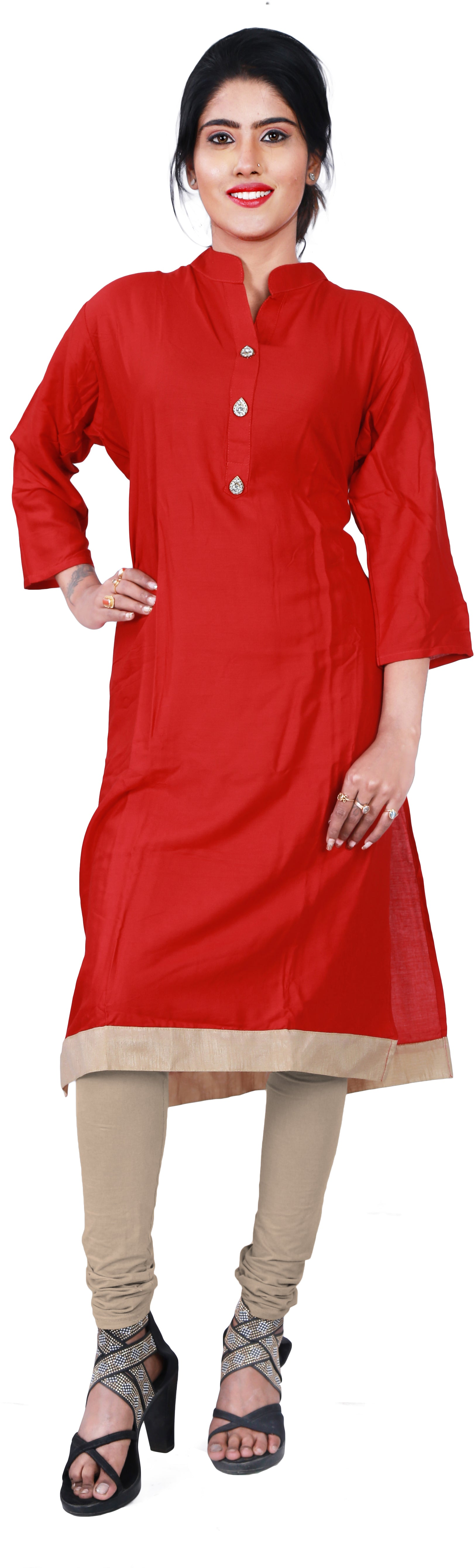SMSAREE Red Designer Casual Partywear Pure Cotton Stone Hand Embroidery Work Stylish Women Kurti Kurta With Free Matching Leggings F182