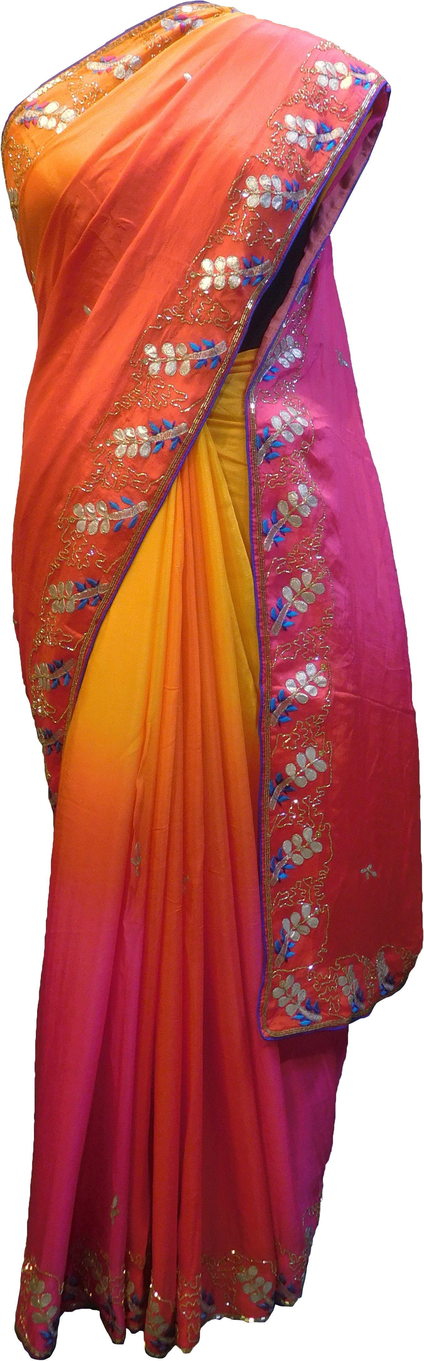 SMSAREE Red Designer Wedding Partywear Georgette (Viscos) Zari Thread & Cutdana Hand Embroidery Work Bridal Saree Sari With Blouse Piece F307