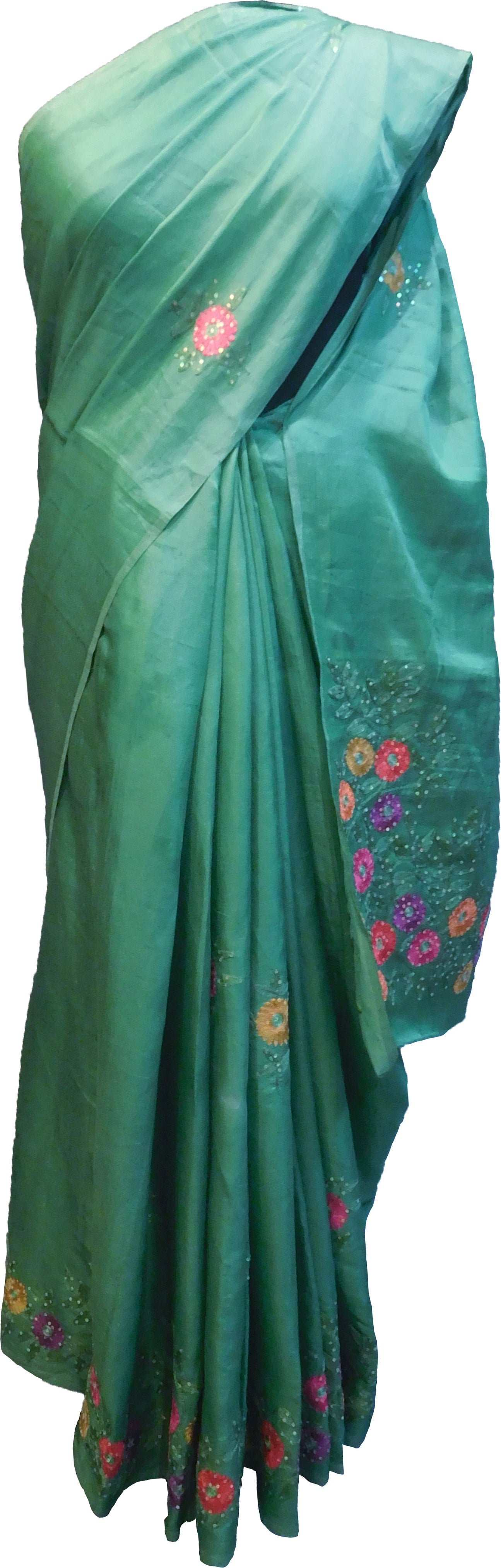 SMSAREE Turquoise Designer Wedding Partywear Silk Stone & Sequence Hand Embroidery Work Bridal Saree Sari With Blouse Piece F352