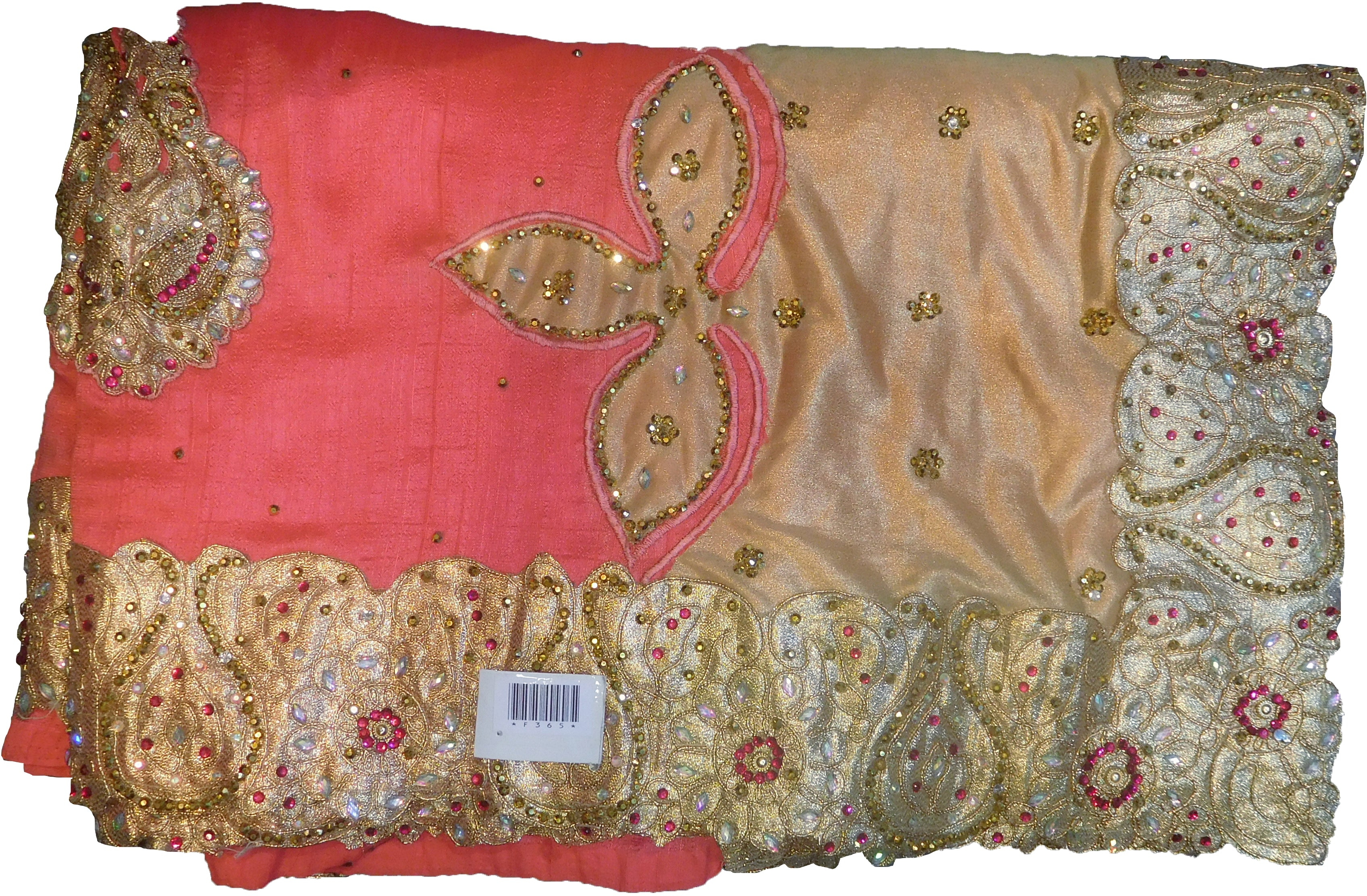 SMSAREE Pink Designer Wedding Partywear Silk (Vichitra) Stone Thread & Zari Hand Embroidery Work Bridal Saree Sari With Blouse Piece F365